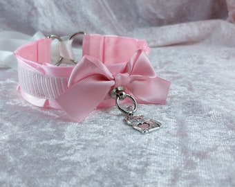 "12"" // Pastel pink striped thin pet play ddlg collar"