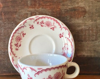 Chardon Rose Cup and Saucer, Coffee, Tea, Red Pink Roses and Ivy, Clean, Bright, Restaurant Ware, Rim Rol Wel Roc, Shenango China, ca. 1960