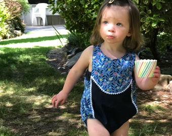 Ripley Sunsuit in Blue Flower Fields