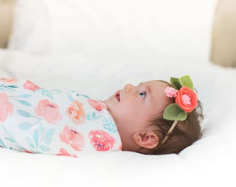 Organic cotton swaddle blanket in Watercolor Peonies in Shades of Pink