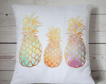 "Tropical Pineapples - 16"" Cushion Pillow Cover Retro Shabby Vintage Chic - UK Handmade"