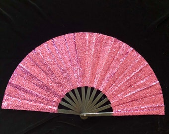Glitter Festival Hand Fan Folding Rave EDC Burning Man Custom Silver Large Sequin Sexy Performance Held EDM
