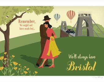 Bristol A4 Giclée Print - Suspension Bridge Couple (Standing)