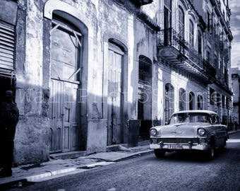 Black and White Photography, Vintage American Cars, Havana, Cuba Street Photography, Car Photography,  Fine Art Photography, Cuba Print Art