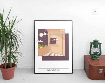 50 x 70 poster graphic design illustration Inspired by Le Corbusier architecture