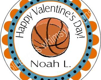 """2.5"""" Round Sticker for Goodie Bag- Boy Valentine basketball"""