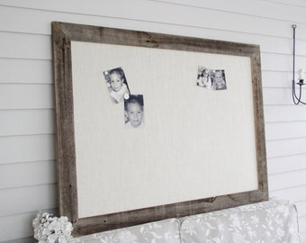 HUGE Barnwood Frame MAGNETIC Bulletin Board Reclaimed Recycled Weathered Gray Rustic Barn 35 x 48 Handmade Frame Ivory WHITE Burlap Fabric