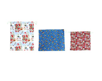 Christmas cotton fabric pouch set, blue red green eco friendly gift wrap with Santa Clause, horse, nut cracker pattern, handmade in Vienna