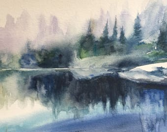 Mountain lake, landscape painting, watercolor landscape, Pacific Northwest, British Colombia, misty landscape, lake reflection, misty lake