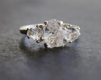 Raw Diamond Ring Alternative Engagement Ring Promise Ring Organic Stone Three Stone Wedding Band Rough Diamond Uncut Rustic Boho Bridal