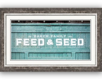 Rustic Farm Supply Signage White Aqua Feed and Seed Country Charm 1 x 2 Panorama Fine Art Photography Print or Gallery Canvas Wrap Giclee