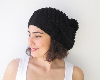 Black Slouchy Hat with Pon Pon by Afra