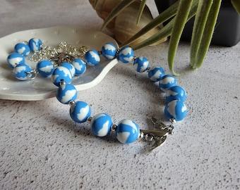 Chunky bracelet, Clould bracelet, Bird charm, Blue elasticated bracelet, Weather jewellery, Summer accessory, Unique bracelet, Woman's gift
