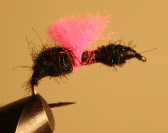 Fly Fishing - Fishing Lure - Fisherman - Fishing Fly - Black Ant with Pink Parachute on number 10 hook