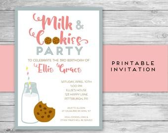 Milk and Cookies Invitation - Milk and Cookie Birthday Invitation - Printable Invitation