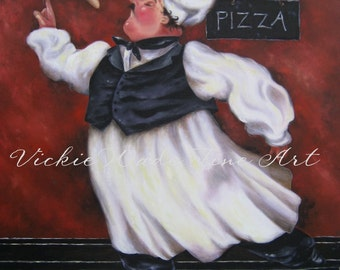 Fat Chefs Art Print, Pizza Chef kitchen wall decor, chef art, chef paintings, fat chef paintings, art, kitchen art, Vickie Wade art