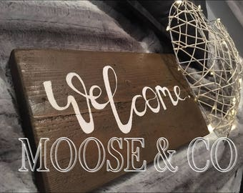 Handmade Wood Welcome Sign Wooden Plaque gift