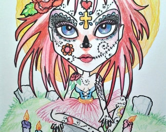 Day Of The Dead Girl ACEO/ATC Artist Trading CardsBy The Artist Leslie Mehl