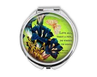 """William Shakespeare """"Love all, trust a few, do wrong to none"""" Compact Mirror Pocket Mirror Large"""
