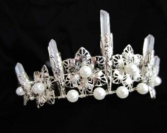 Princess Tiara, Quartz Point, Bride Crown, Headpiece, Costume, Fairy, Wedding, Cosplay, For Adults