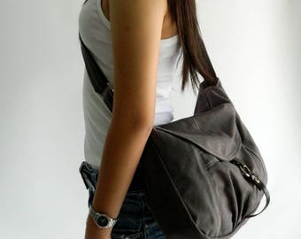 Sale - Gray canvas Messenger bag,Diaper bag,Tote,canvas shoulder bag  Purse,Cross body bag, For her / Sale 25 % - no.103 CLAIRE