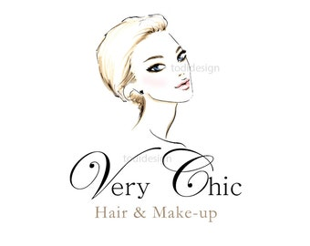 Very Chic- Hair and Beauty Salon- OOAK Character Illustrated Premade Logo design-Will not be resold