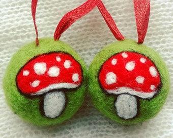 Needle felted toadstool felt bauble tree decorations mushrooms fly agaric autumn fairy