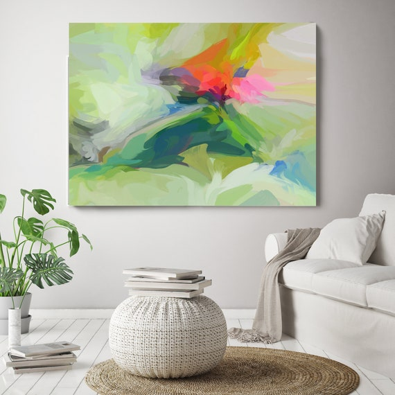 """Everlasting Environment, Green Red Pink Abstract Painting, Abstract Green Painting, Abstract Green Canvas Print up to 80"""" by Irena Orlov"""