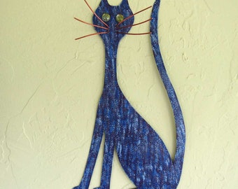 Metal Wall Art Cat Sculpture Kitty Decor Purple Cobalt Blue Recycled Metal Large Cat Indoor Outdoor Animal Art 20 x 11
