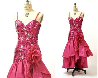 Vintage 80s Prom Dress in Pink with Sequins Size XS Small// 80s Pink Sequin Dress Pageant Barbie Dress by Alyce Designs