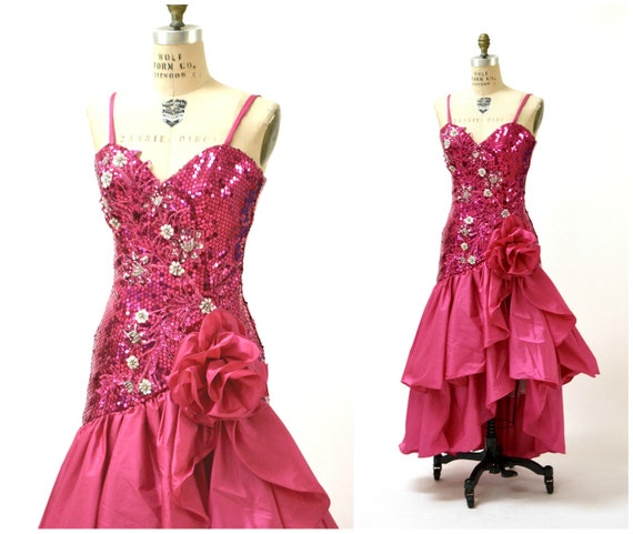 Vintage 80s Prom Dress in Pink with Sequins Size XS Small//