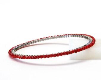 Red Crystal Bracelet - Sparkly Swarovski Crystal Wire Wrapped Stainless Steel Bangle - Valentines Day Jewelry
