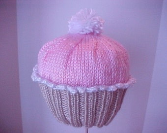 Little Cupcake Hat Too Size NB to 4 yrs Handmade Knitted