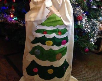 HandPainted Natural Cotton Drawstring Christmas Tree Santa Sack Extra Large 75x50cm
