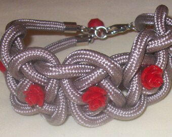 Cuff Βracelet with red roses
