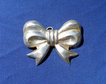 Sterling Silver Bow Brooch or Pendant Large Statement Piece Mid-Century Gift for Her