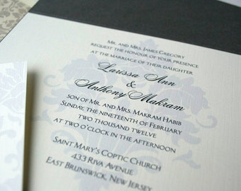 Sample Wedding Invitation Simple and Traditional Damask