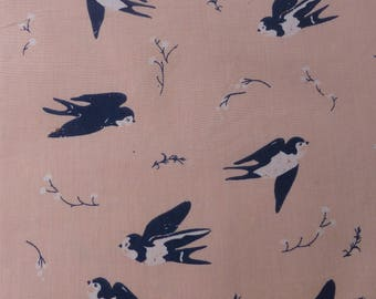 1/2 Yard Organic Cotton Fabric - Birch Fabrics Little - Happy Swallow Poplin