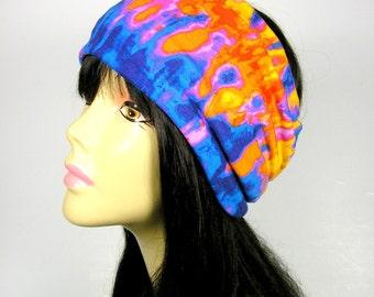Tie-Dye Head Wraps Pink Blue Yellow Tie-Dye Head Wrap Headband Turban Headbands Cotton Jersey Head Scarves Boho Head Wraps Boho Head Scarves