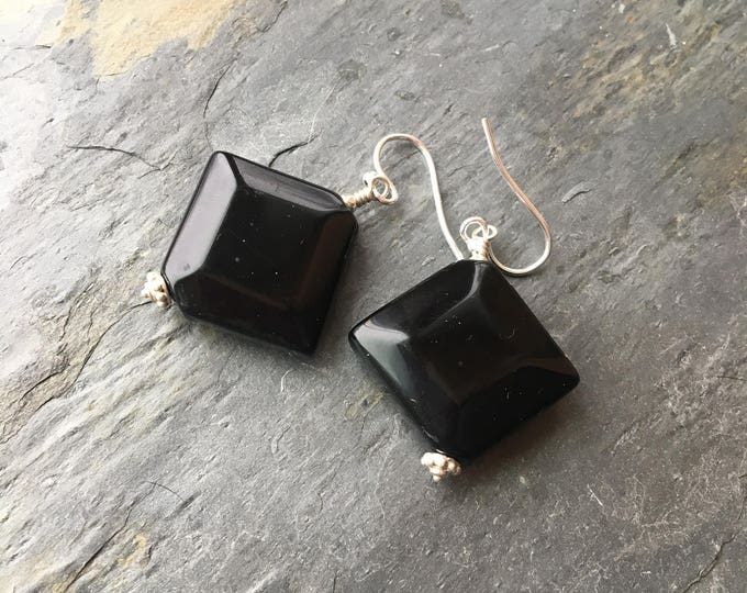 Black Onyx and Bali Silver Diamond Shaped Earrings Sterling Silver Gift Heavy Big