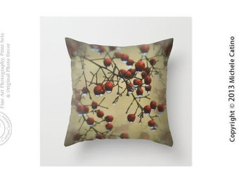 Autumn Red Berries Wet Red Berries Water Drops on Leaves Fall Colors Woodsy Nature Throw Pillow Cover