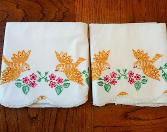 Pillowcases Embroidered Gold Birds with Red Flowers and Green Leaves 1950's Vintage