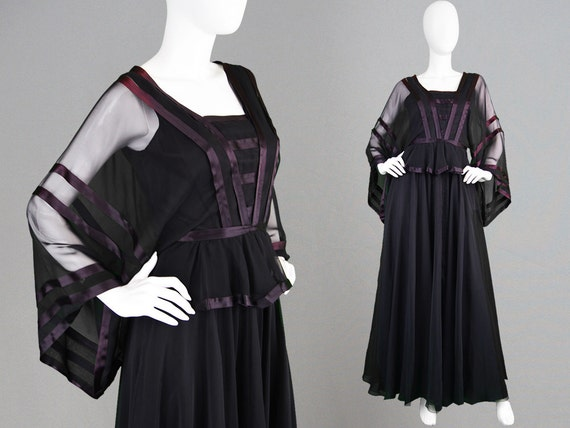 Gown Trim Dress Peplum Vintage Maxi VARON Gothic Sleeve Black Top Satin Chiffon 1970s Kimono Sheer JEAN Stripe Dress 70s Evening Sleeve Long qqTPIfw
