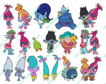 Trolls - SVG file, DXF file, EPS file, png file - Cut Files - Layered Images - Instant Download - Cricut Explorer - Silhouette Cameo