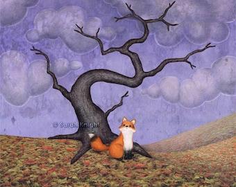 the rainy fox - signed illustration art print 8X10 inches, autumn tree violet purple lavender brown fall leaf litter orange clouds fox art