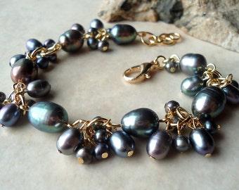 Baroque Black Pearl Cluster Bracelet.Wedding.24K Gold Plate.Beadwork.Bridal.Valentine.Birthday.Mother's.Prom.Dainty.Gift.Luxe.Handmade.