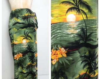Vintage Tiki Sarong Beach Coverup Green Hawaiian Floral Print Wrap Coverup Pinup Up Girl Clothing Rockabilly Clothing Retro Clothing