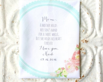 MOTHER of the GROOM . wedding handkerchief . gift . a mother holds her son's hand . his heart forever . cotton wedding hanky . hankie
