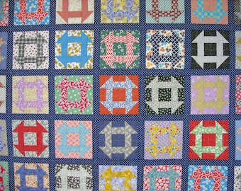 Queen Size Quilt - 96 x 96 - Churn Dash - Vintage 30s Look - Reproduction Feed Sack and Novelty Prints - Scrap Quilt -  Vintage Look