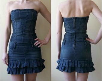 Vintage Denim Dress, Strapless Dress, Fitting Dress, Body Con Dress, Mini Denim Dress, Size S/M